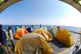 The ferry Taku's solarium and upper back deck was, at times, home to a tent city. (Photo by Lonnie Walters/Alaska Department of Transportation)