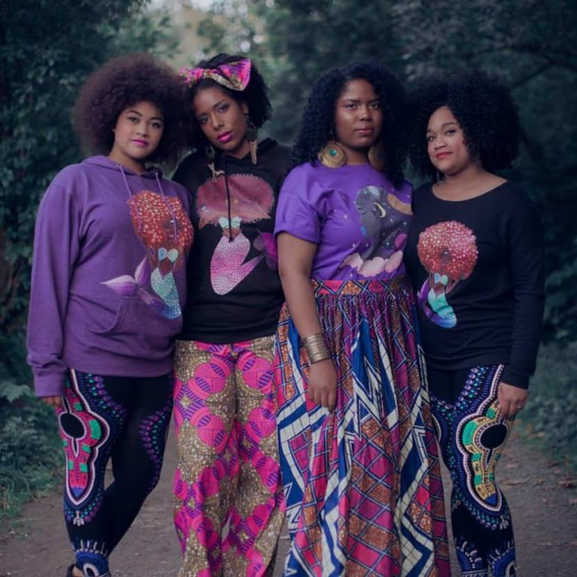 Tahir McInnis (second from left) models designs from her fashion line Melanin Auntie which appeared as a pop-up shop at Downtown Dames First Friday during September. (Photo courtesy of the artist)