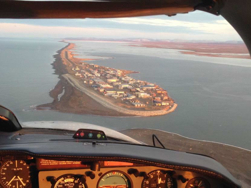 The village of Kivalina is one of several Alaska locales threatened by eroding coastlines and rising sea levels. (Photo by Joaqlin Estus/KNBA)