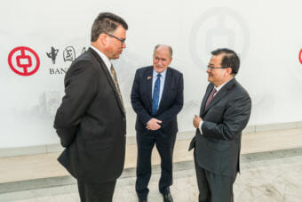 Alaska's Gasline Development Corporation President Keith Meyer, Alaska Gov. Bill Walker and Bank of China Executive Vice President Yingxin Gao, talk during a visit to Beijing where Alaska and China inked a deal to explore building a liquified natural gas pipeline. (Photo courtesy Alaska Governor's Office)