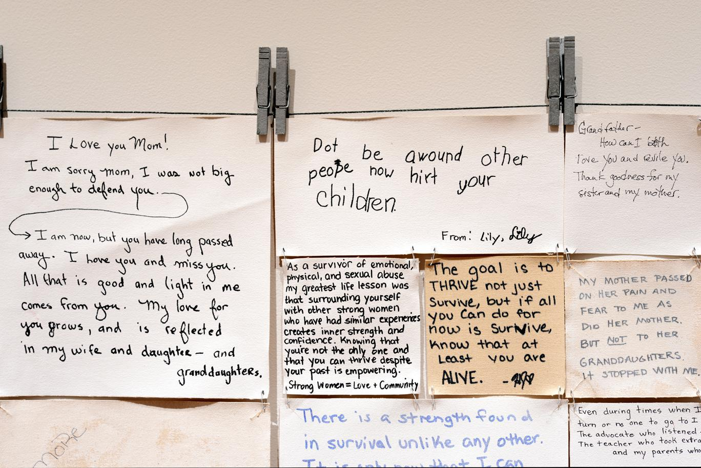 """In """"Hope Quilt,"""" an art installation that toured Bethel last month, Alaskan artist Carmel Anderson displays anonymous stories from abuse survivors throughout the state. Alaska's sexual assault rates are high, and Alaska Native females are more likely to be attacked than anyone else. (Photo courtesy Carmel Anderson)"""