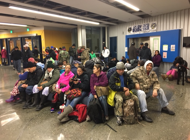 Kodiak residents evacuated to the high school during a tsunami warning on Jan. 23, 2018. (Photo by Mitch Borden / KMXT)