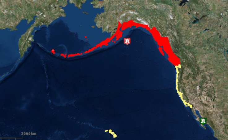In this screenshot of the U.S. Tsunami Warning System website, the entire coast of the Gulf of Alaska from the Aleutians to Washington state is under tsunami warning at 1:52 a.m. on Tuesday, Jan. 23, 2018.