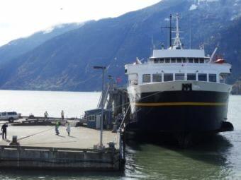An Alaska Marine Highway ferry docked in Skagway. (Photo by Emily Files/KHNS)