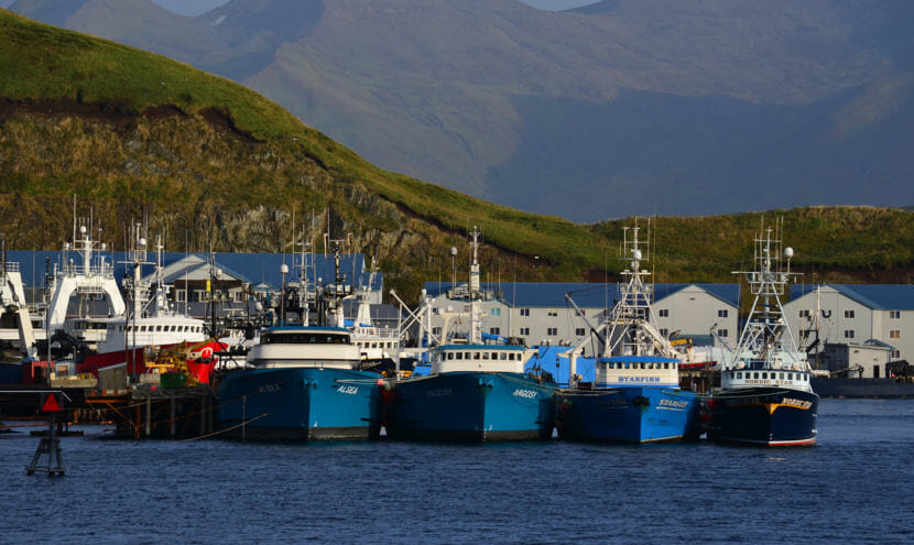 Fishing trawlers lined up in Dutch Harbor, on Sep. 24, 2013, in Unalaska, Alaska.