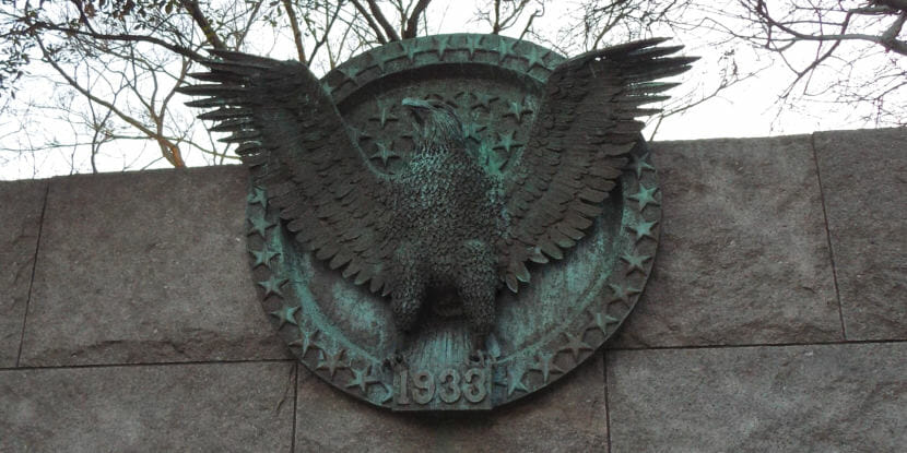 An eagle sculpture is part of the Franklin D. Roosevelt Memorial in Washington D.C. as pictured here in January 2018. The artist, Thomas Hardy, also made the Diving Pelicans sculpture outside Juneau's Federal Building.