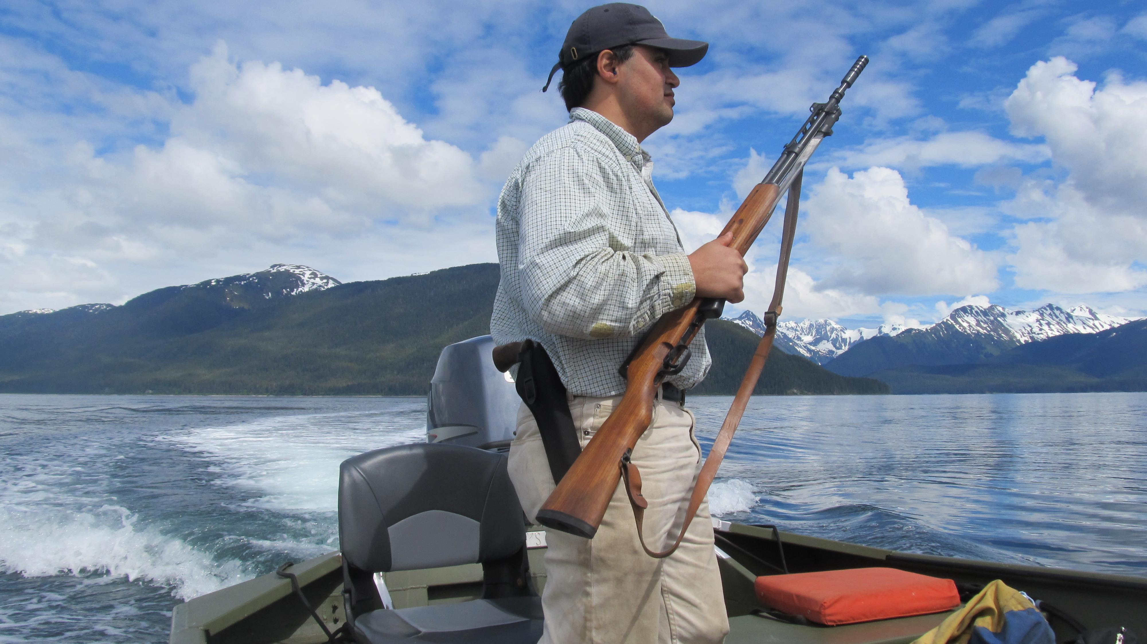 Marcus Gho hunts for sea otters on June 8, 2013, near Pleasant Island in Icy Strait. Gho, who is Inupiaq Eskimo, lives in Juneau and creates items using sea otter fur. (Photo courtesy Marcus Gho)