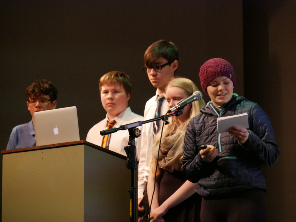 Joseph Giesbrecht, left, Anders Christensen, Gabe Torrez, Helen Martin and Marissa Nilsen presented their research on extreme winds at the Wright Auditorium before leaving for the state competition in Seward. (Photo by Joe Viechnicki/KFSK)