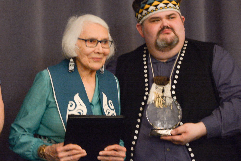 Delores Churchill receives the Lifetime Achievement Award from Central Council of Tlingit and Haida Indian Tribes president Richard Peterson in 2017 (Photo courtesy CCTHITA).
