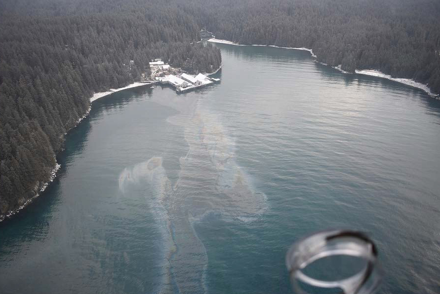 A snapshot of the spill on Shuyak Island. (Photo courtesy Alaska Department of Environmental Conservation)