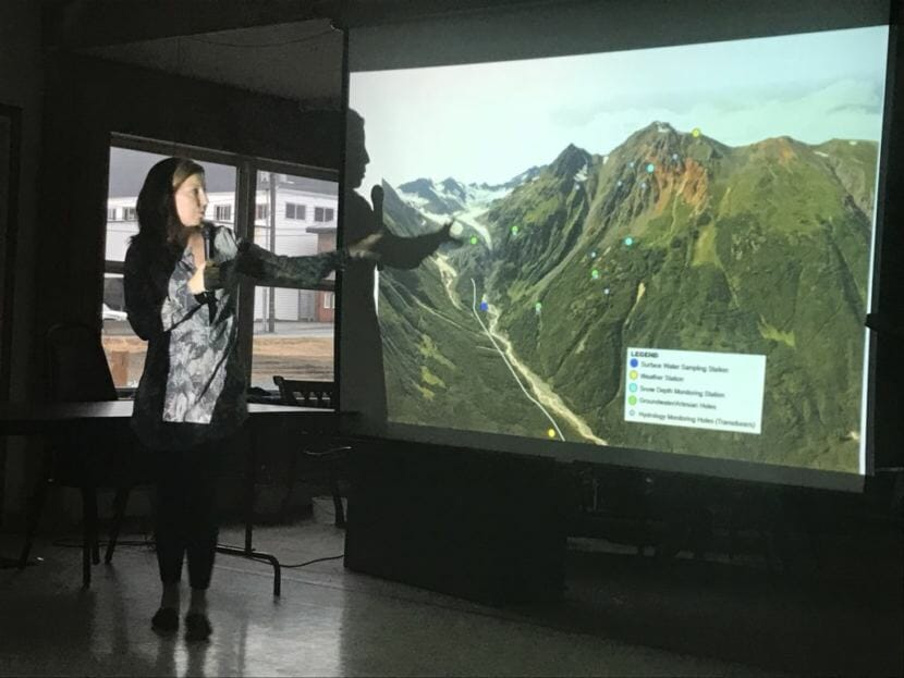 Liz Cornejo explains the Palmer Project at a public forum focused on mining and water on Wednesday, April 18, 2018. Cornejo is vice president of community and external affairs for Canadian company Constantine Metal Resources Limited. (Photo by Daysha Eaton, KHNS)