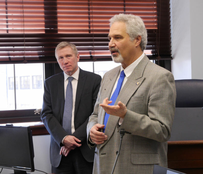 Alaska Senate President Pete Kelly, R-Fairbanks, talks after a presentation by Alaska Department of Corrections Commissioner Dean Williams, left, about Norway's corrections model on March 23, 2018. Williams and Kelly support making Norway-style reforms in Alaska. (Photo by Skip Gray/360 North)