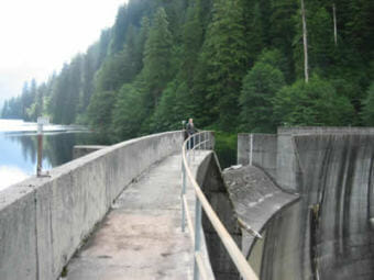 The Swan Lake dam prior to an expansion of the reservoir's capacity in 2016 (Photo courtesy Southeast Alaska Power Agency)