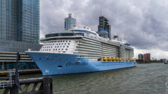 The 5,000 passenger Ovation of the Seas, in the Port of Rotterdam. CLAA's Fred Reeder argues that being able to dock a Quantum-class ship like the Ovation (the second-largest class of cruise ships afloat) could bring an additional 100,000 passengers to Sitka each year, and an additional $600,000 in local sales taxes. (Flickr photo by Frans Berkelaar)