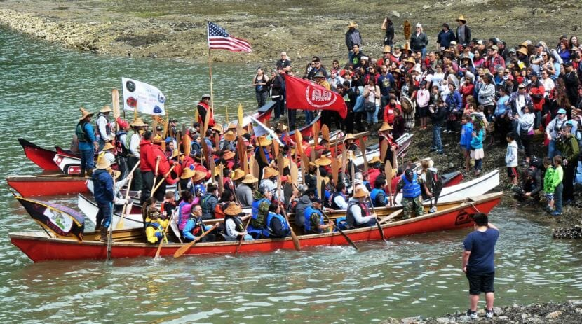 Canoes from around Southeast Alaska are formally greeted at the Douglas Boat Harbor on June 8, 2016, just before that year's Celebration. This year's canoes are scheduled to arrive June 5 between 2 and 3:30 p.m. (Photo by Ed Schoenfeld/CoastAlaska News)