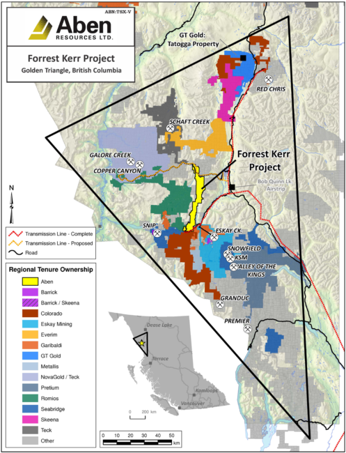 About a dozen mines or exploration projects are in what's called the Golden Triangle in west-central British Columbia. Some are new, while others are old mines under exploration as the price of gold roses. (Map courtesy Aben Resources and its Forrest Kerr project)
