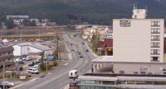 Traffic flows along Egan Drive in Downtown Juneau on May 2, 2018.
