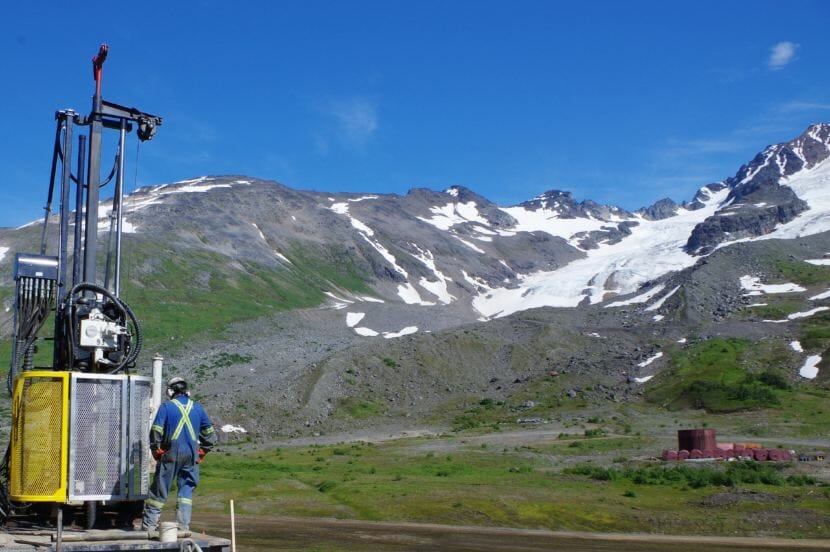 A drilling rig operator works at the Iskut project in west-central British Columbia. The Iskut is one of about a dozen exploration or mining projects near rivers that run through or near Southeast Alaska. (Photo courtesy Seabridge Gold)