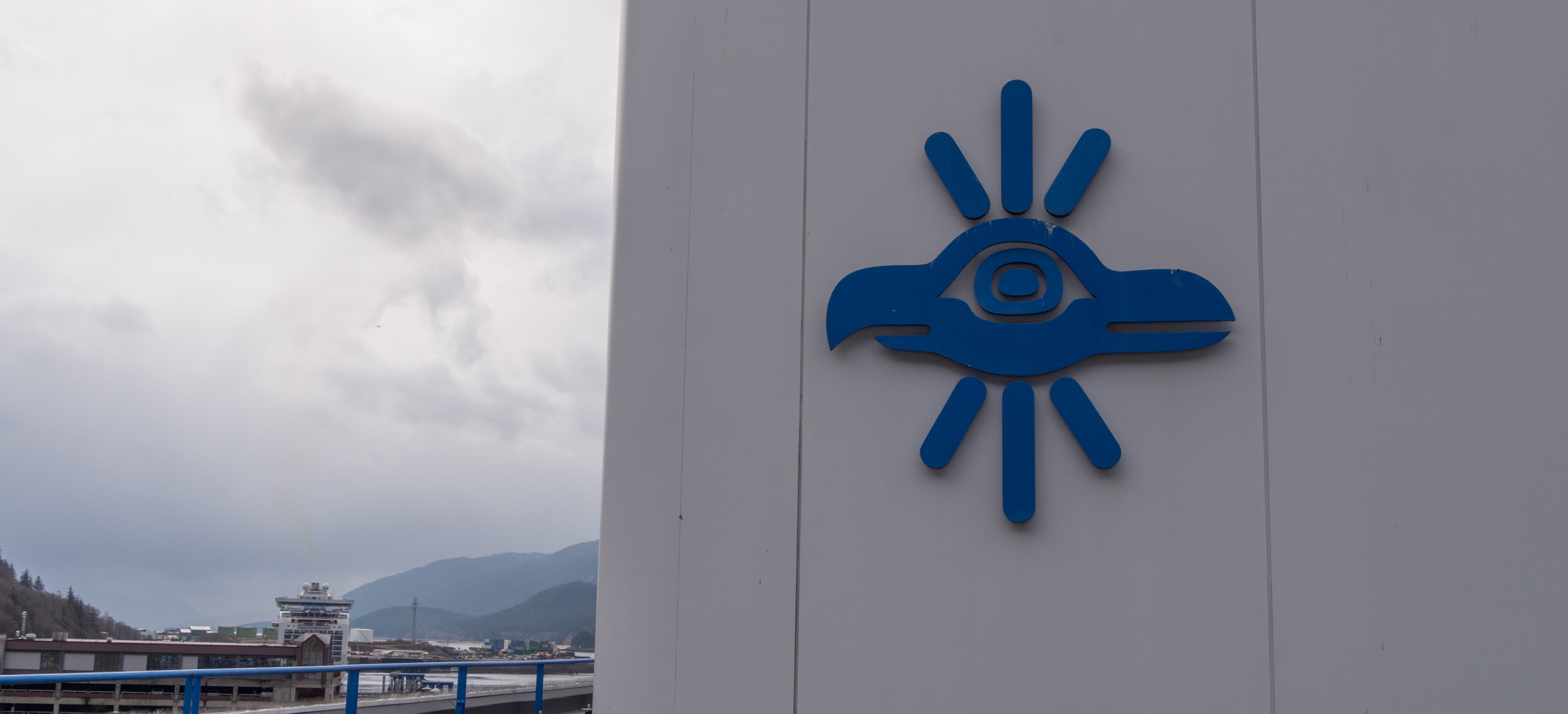 A Sealaska corporate logo adorns the roof of the Southeast Alaska Native corportation's headquarters in Juenau on May 2, 2018.