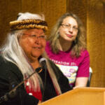 Della Cheney speaks during a weavers' presentation Wednesday, June 6, 2018, at the Shuka Hit clan house in the Walter Soboleff Building in downtown Juneau.