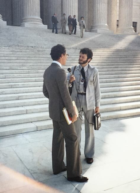 Avrum Gross is interviewed on the steps of the U.S. Supreme Court in Washington, D.C., after he defended the state's permanent fund dividend program in Zobel v. Williams on Oct. 7, 1981.