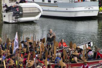 Alaska Gov. Bill Walker asks Native elders for permission to land at Douglas Harbor on June 5, 2018.