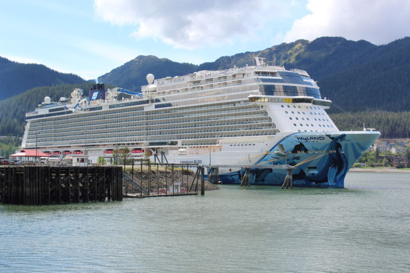 The Norwegian Bliss prepares to disembark from Juneau on June 5, 2018 (Photo by Adelyn Baxter/KTOO).