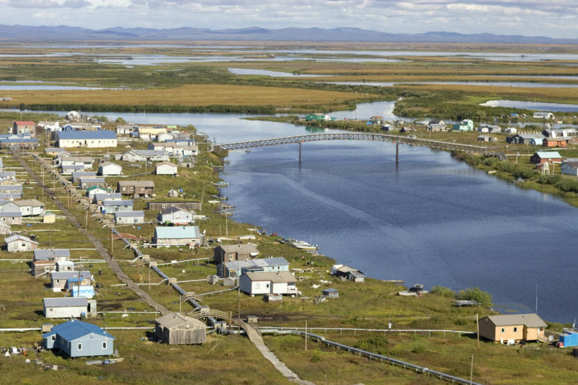 The village of Selawik lies near Kotzebue Sound in northwest Alaska, pictured here on Aug. 24, 2006.