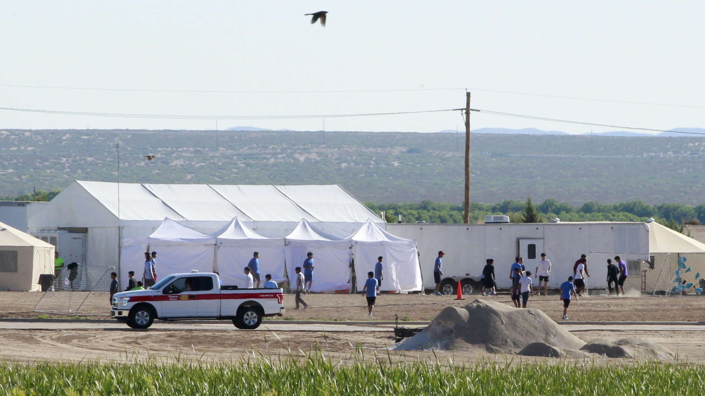 The Pentagon plans to build temporary camps for detained immigrants. Here, children of detained migrants are seen ata tent encampment near the U.S. Customs and Border Protection port of entry in Tornillo, Texas