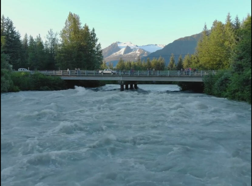 Flooding in the Mendenhall valley on Thursday, Friday, 19, 2018, after a glacial dam burst this week. (Video still by David Purdy/KTOO)