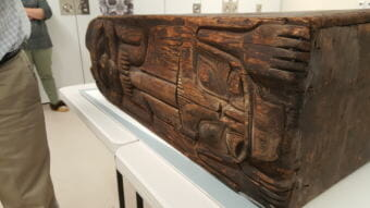 Sealaska Heritage Museum recently partnered with others to acquire infrared scans and enhanced photos of an old Tlingit box drum. The scans reveal more of the formline design on the drum. (Photo by Tripp J Crouse/KTOO)