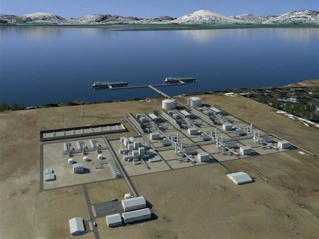 This illustration shows a rendition of what the liquefaction plant in Nikiski could look like if the Alaska LNG project is completed as planned. (Image courtesyAlaska LNG project.)