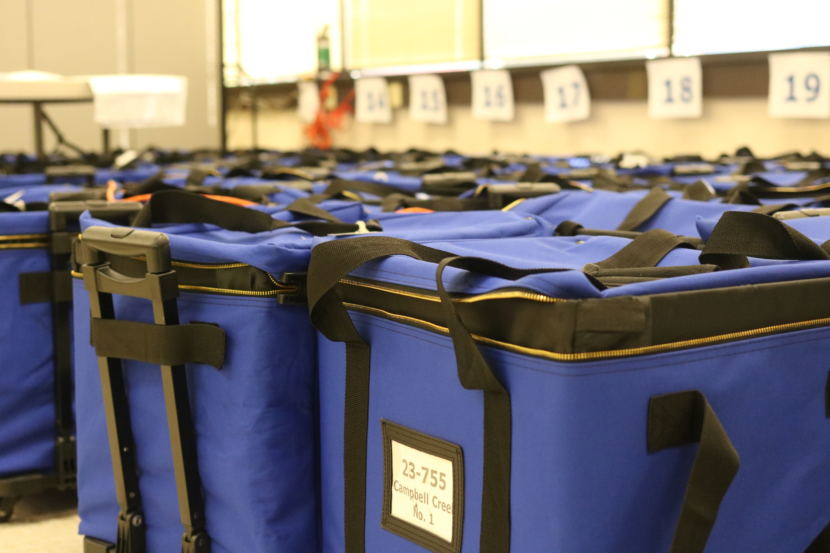 Election materials sit at the Anchorage offices of the Alaska Division of Elections on Tuesday, August 28, 2018. (Photo by Nathaniel Herz / Alaska's Energy Desk)