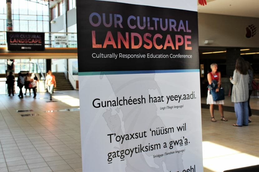 A sign at Juneau-Douglas High School welcomes educators to the Our Cultural Landscape conference. (Photo by Adelyn Baxter/KTOO)