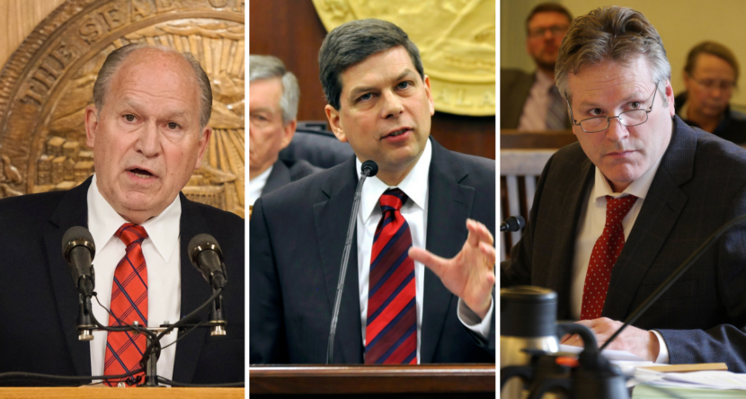 Gov. Bill Walker, left, former U.S. Sen. Mark Begich, center, and former state Sen. Mike Dunleavy, right, are running for governor. Supporters of Walker and Begich expressed concern about the three-way race. (Walker photo by Jeremy Hsieh/KTOO, Begich and Dunleavy photos by Skip Gray/360 North)