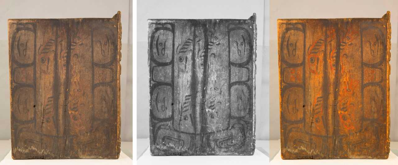 In this composite photo one side of the bentwood box drum shows salmon. The middle image is the infrared scan and photographer Brian Wallace created the third image to highlight the red paint. (Photo courtesy Sealaska Heritage Institute)