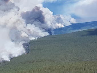 Wildfires near Telegraph Creek in northwestern British Columbia burn out of control Wednesday, August 8, 2018. (Photo courtesy British Columbia Wildfire Service)