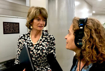Alaska Public Media's Washington D.C. correspondent Liz Ruskin interviews Sen. Lisa Murkowski, R-Alaska, in this undated photo.