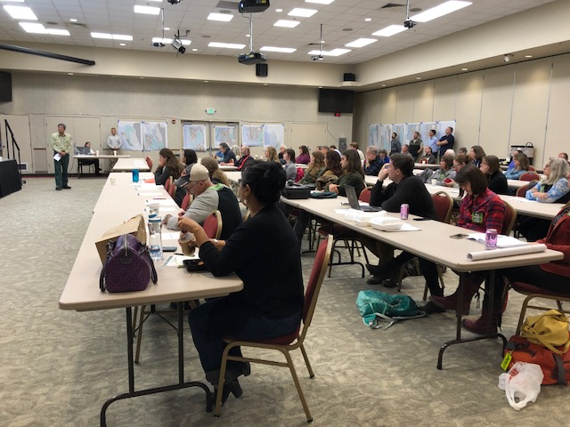 the meeting was held at Elizabeth Peratrovich Hall on Sept. 14, 2018. (Photo by Elizabeth Jenkins/Alaska's Energy Desk)
