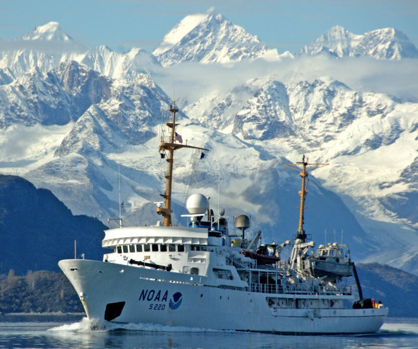 The NOAA Ship Fairweather regularly conducts reconnaissance missions to help NOAA prioritize its efforts to update navigational charts in the Arctic. NOAA and other private companies in Alaska are participating in the global Seabed 2030 project which aims to map the seafloor. (Photo courtesy the National Ocean Service Image Gallery) https://www.flickr.com/photos/usoceangov/7803477456/in/photolist-cTyRYL-dSzo81-9gvyF5-gK9nND-8gTFVg-dT2Uwd-24B92ZZ-9VZEiY-93TcNa-4TZqjH-9vdBZs-6FWaeB-6WDHCG-dSzo4Y-NbUXUL-izyYK-QHSi8v-Y92MdT-CEojeU-2aLw7K4-8m7weN-dmv7jx-pQ8J58-dDef5-5qa63z-5qa6o8-ej6e3o-j5mot-9VKrc-NG42m-5qepKU-6VqRoS-7jDyqT-e7WisY-2eyWvh-6uTW8w-pVAfbF-b4hy2D-JFc2Aj-HMZ74e-bVfiVg-pabJ8Y-6FwXMt-9MmG4G-oy5hnw-G1ThSB-oFG6Xy-21xh4P1-5bJGx-6FCwU8