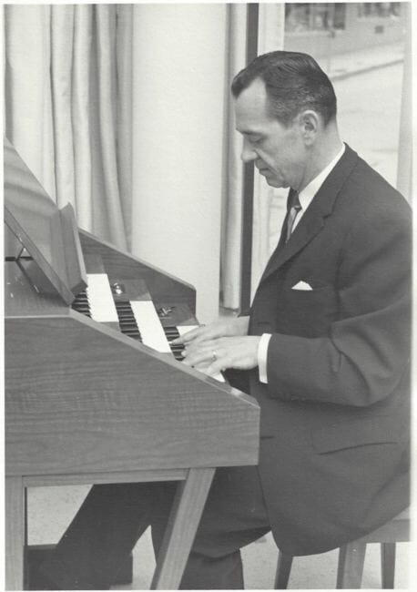 J. Allan MacKinnon snapped this photo in the 1960s of an unidentified man who played the Schulmerich Americana carillon at the National Bank of Alaska in downtown Juneau, which later became a Wells Fargo. MacKinnon remembers the bank installing the carillon system in 1962, though the carillon company has records of a sale to the Juneau bank branch in 1967.