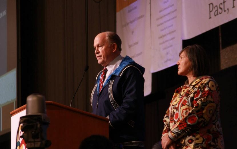 Alaska Gov. Bill Walker announces Friday, Oct. 19., 2018, that he is suspending his re-election campaign at the Alaska Federation of Natives convention in Anchorage. With Lt. Gov. Valerie Davidson next to him, Walker endorsed Mark Begich.