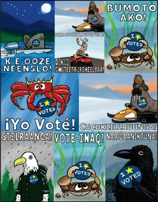 """Pat Race's designs for early voting stickers feature Alaska animals and say """"I voted"""" in English, Spanish, Tagalog and several Alaskan Native languages."""