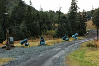 Eaglecrest Ski Area bought six new snowmaking machines this year to expand their snowmaking operations. (Photo by Adelyn Baxter/KTOO)