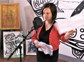 """Screen shot of Lily Hope performing her poem """"One Square in Inch Chilkat Weaving as part of the 2018 Red Carpet Celebration Sessions."""