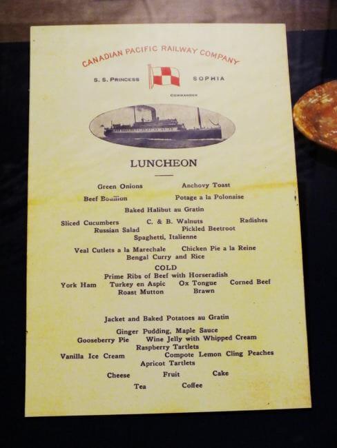 Luncheon menu from S.S. Princess Sophia.
