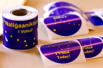 """""""I Voted"""" stickers at the polls in Nome, August 19, 2014."""