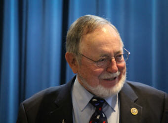 Republican Congressman Don Young at the Egan Center on election night. Young has a large lead over his opponent, independent Alyse Galvin. (Photo by Zachariah Hughes, Alaska Public Media)