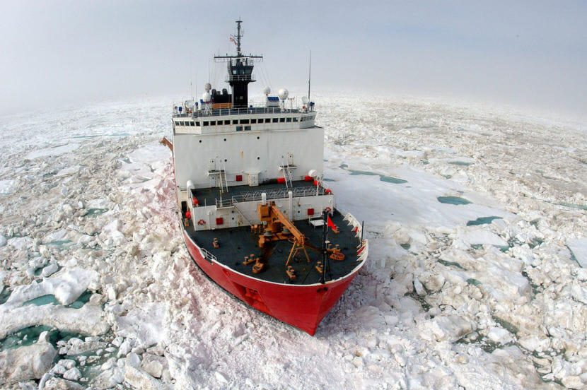 The U.S. Coast Guard Cutter Healy, a 420 ft. icebreaker homeported in Seattle, Wash., breaks ice in support of scientific research in the Arctic Ocean.
