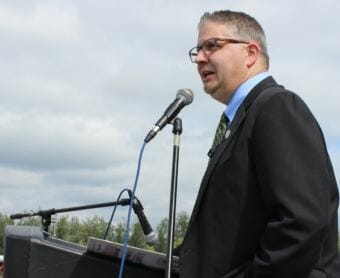 Fairbanks Mayor Jim Matherly recalls the history of Pioneer Park, once known as Alaskaland, as he speaks from the deck of the historical S.S. Nenana sternwheeler steamboat at the annual Independence Day Celebration at Pioneer Park in Fairbanks on July 4, 2017.
